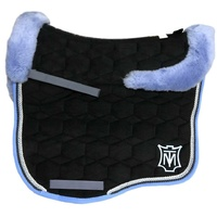 E.A Mattes Eurofit Full Fleece Saddle Pad - Black Velvet & Light Blue