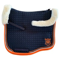 E.A Mattes Eurofit Top Fleece Saddle Pad - Navy & Orange/White