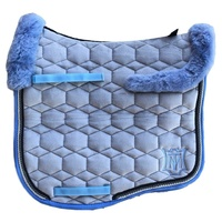 E.A Mattes Eurofit Top Fleece Saddle Pad - Silver Velvet & Light Blue