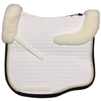 E.A Mattes Eurofit Top Fleece Saddle Pad - White with Navy, White, Champagne & Pearl