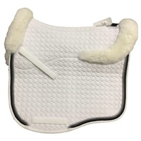 E.A Mattes Eurofit Full Fleece Saddle Pad - White with Graphite, Stone Grey & Silver