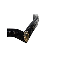 White Horse Equestrian Black Pearl V-Line Browband